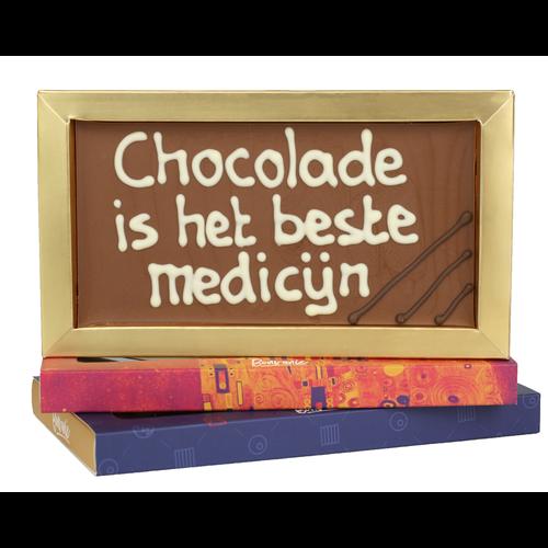 Chocolade is het beste medicijn - Chocoladereep met tekst