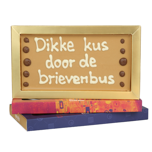 Dikke kus door de brievenbus - Chocoladereep met tekst