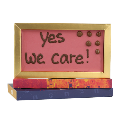 Yes we care! - Chocoladereep met tekst