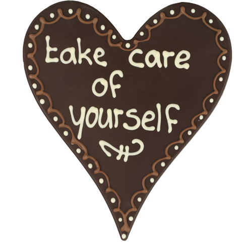 Take care of yourself  - Chocoladehart met stippen