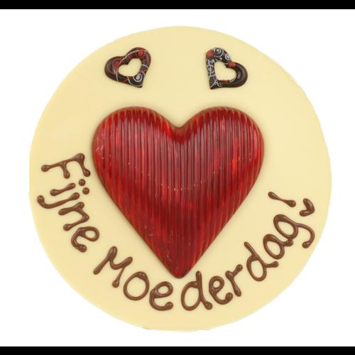 Fijne moederdag - Rond chocoladeplakkaat met hart