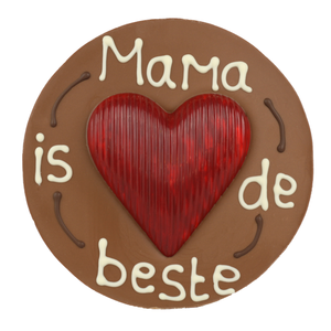 Mama is de beste - Rond chocoladeplakkaat met hart