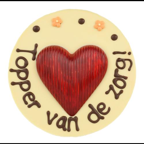 Topper van de zorg - Rond chocoladeplakkaat met hart