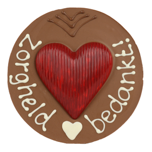 Zorgheld bedankt - Rond chocoladeplakkaat met hart