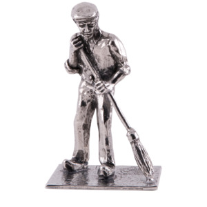 Farmer with broom