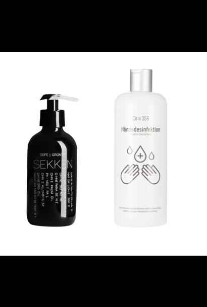 Seife Grüntee 250ml + 500ml Desinfektionsmittel für Hände und Flächen