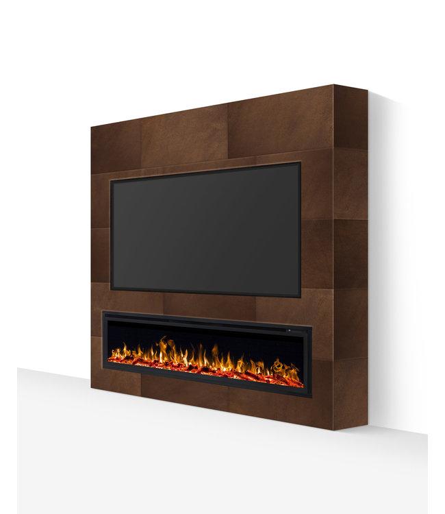 TV wand tot 77 inch lederlook bruin