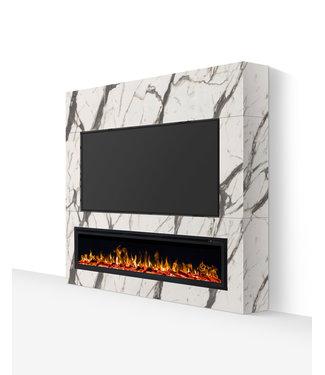 TV wand tot 77 inch wit marmerlook