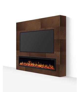TV wand tot 85 inch lederlook bruin