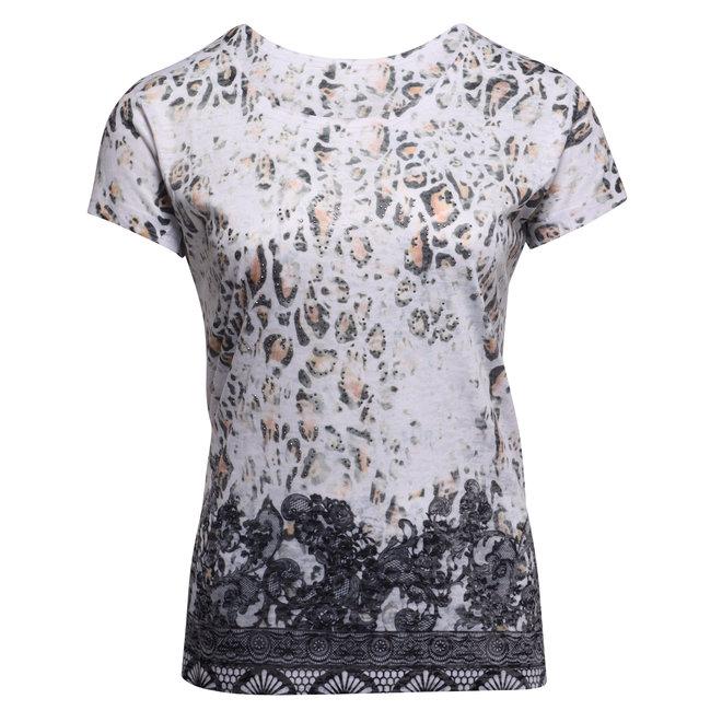 T-Shirt met Dierenprint & Strass Steentjes