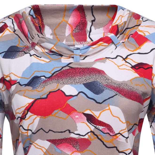 T-Shirt met Hals Detail en All Over Dessin