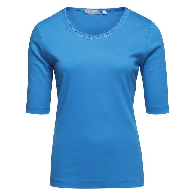 Effen T-Shirt in Blauw