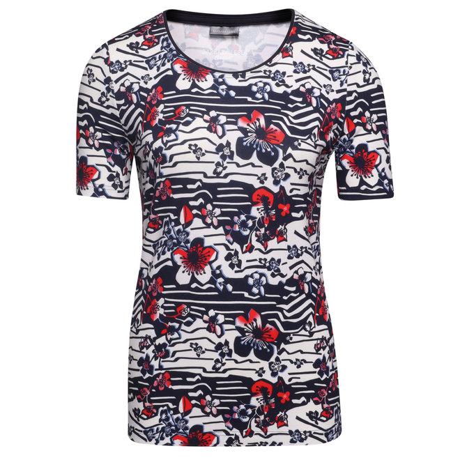 T-Shirt met Over-All Dessin en Sierboordje