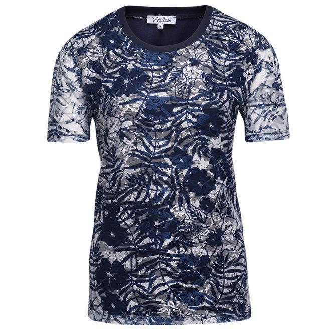 T-Shirt Donkerblauw met Kant