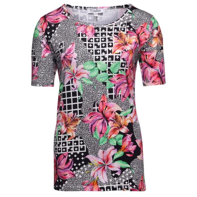T-Shirt met Zomers Dessin en Gekleurde Bloemen