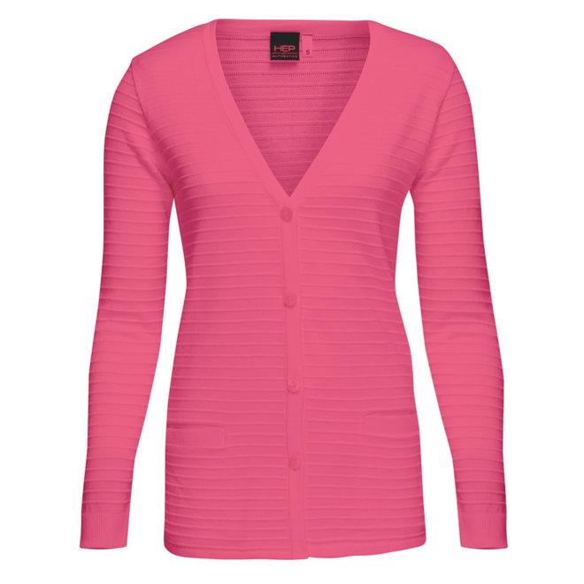 Basic Doorknoop Vest Fris Roze