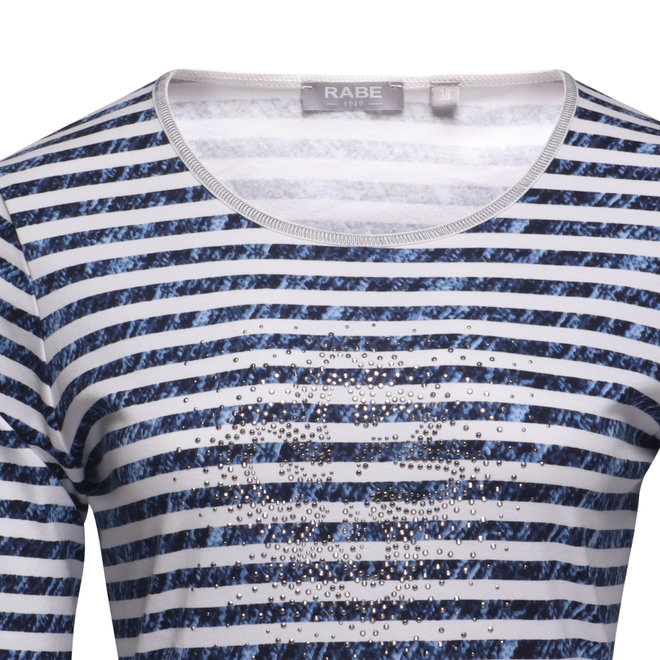 Gestreept T-Shirt met Driekwarts Mouwen
