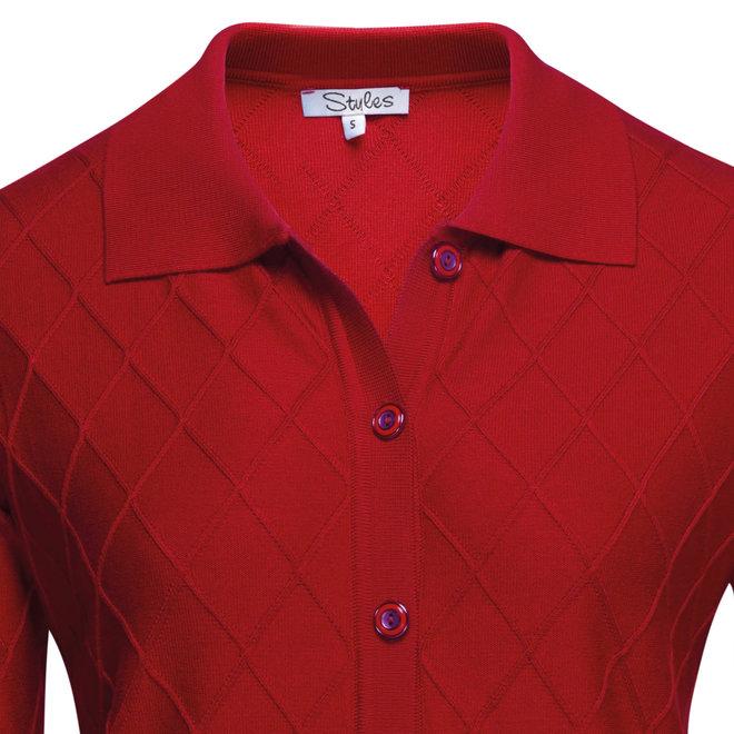Vest met Ruit Structuur Rood