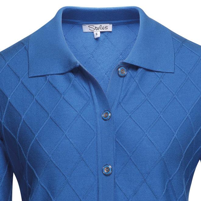 Vest met Ruit Structuur Blauw