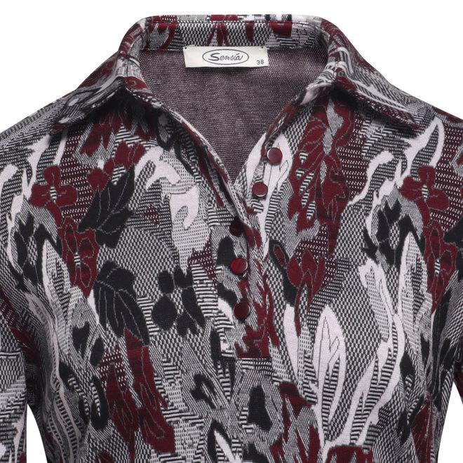 Poloshirt met Bordeaux Dessin en Lange Mouw