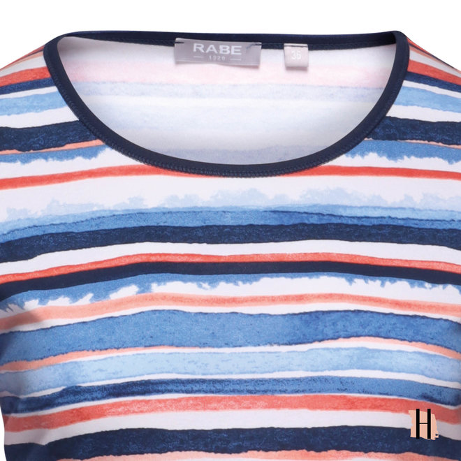 T-Shirt met Frisse, Gekleurde Strepen
