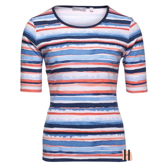 T-Shirt met Oranje en Blauwe Strepen