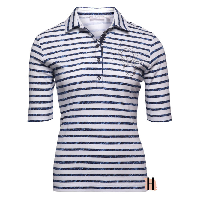 Polo met Blauwe Strepen en Strass Details