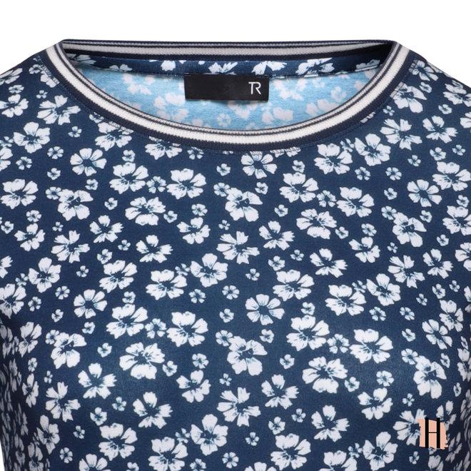 T-Shirt met All-Over Dessin en Tricot Bies op Halslijn