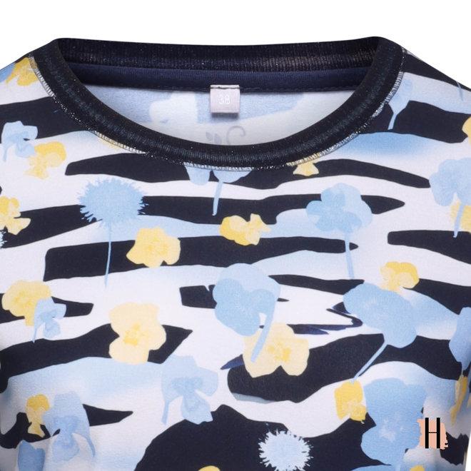 T-Shirt met Glitter Bies op Halslijn en Grafische Strepen