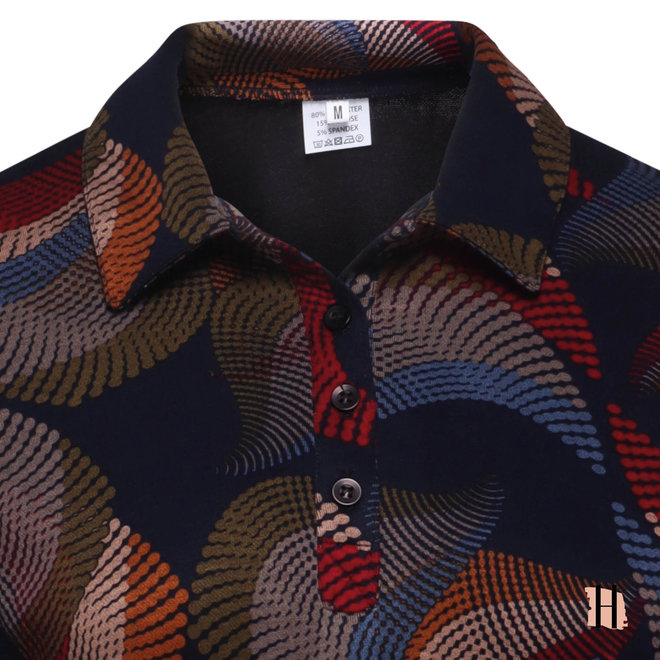 Poloshirt met All-Over Dessin van Warme Kwaliteit