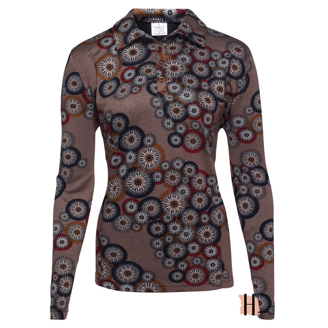 Warm Poloshirt in Bruin All-Over Dessin