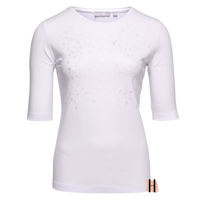 T-Shirt Effen Wit met Druppeltjes Opdruk