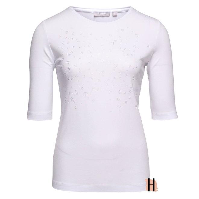 T-Shirt Effen Wit met Subtiele Opdruk