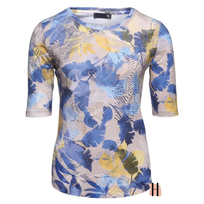 T-Shirt met Tropisch Dessin Blauw