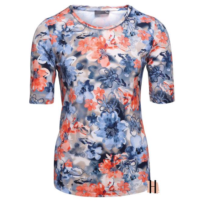 T-Shirt met Blauw en Oranje Bloemen