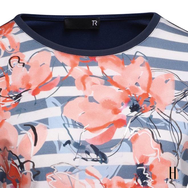 T-Shirt met Schuine Korte Mouwtjes en Metallic Detail
