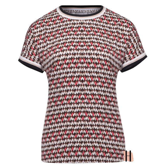 T-Shirt met Grafisch Dessin en Glitter Tricot Boord