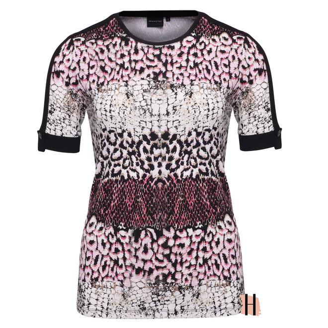 T-Shirt met Dierlijk Dessin in Roze Tint met Zwarte Bies