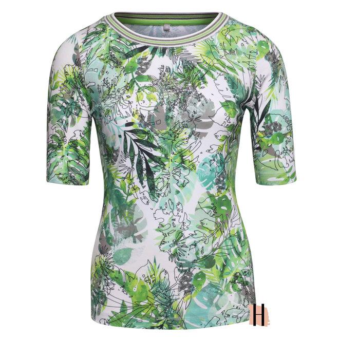 T-Sshirt met Tropische Print, Strass en Tricot Boord