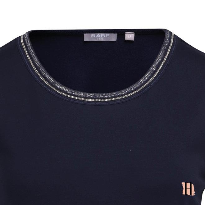 Donkerblauw Hemd met Ketting Versiering op Halslijn