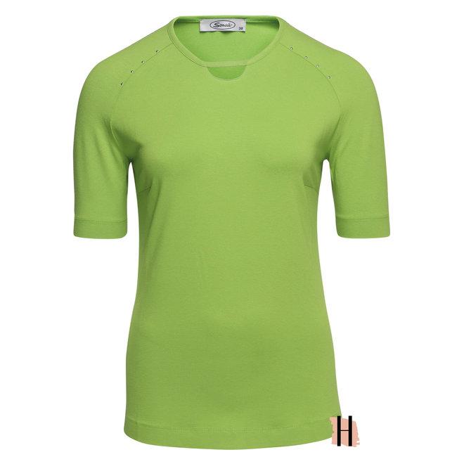 T-Shirt Groen met Studs en Halsdetail