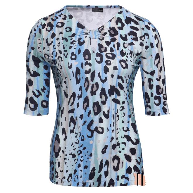 T-Shirt met Strik Halsdetail en Dierenprint