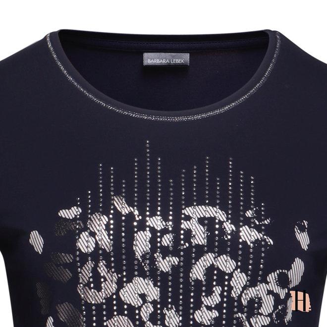 T-Shirt met Zilverfolie Opdruk en Strass Steentjes