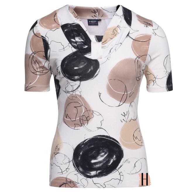 T-Shirt met Hals Detail Beige