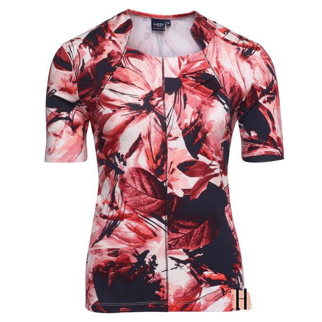 T-Shirt met Opstaand Kraagje Rood
