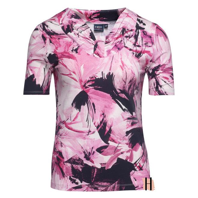 T-Shirt met Halsdetail Roze