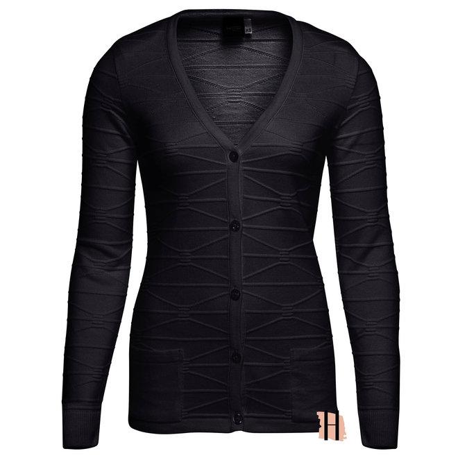 Basic Doorknoop Vest met Structuur Zwart
