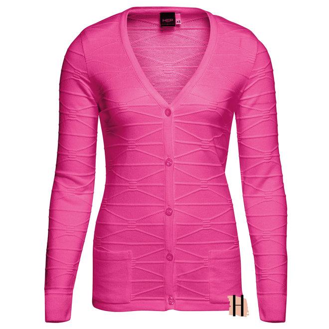 Basic Doorknoop Vest met Structuur Roze