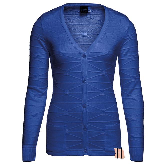 Basic Doorknoop Vest met Structuur Kobalt Blauw