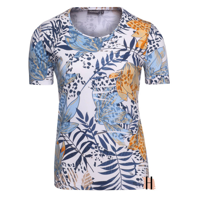 T-Shirt met Blauwe Gele Bloemenprint